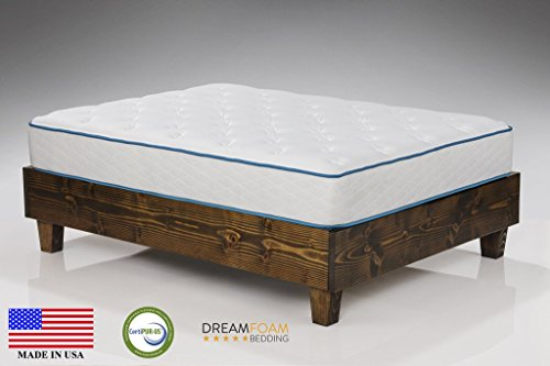 the Dreamfoam Bedding Arctic Dreams 10-Inch Cooling Gel Mattress on a wooden bed