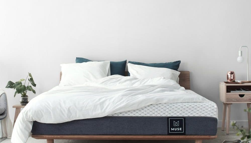 the Muse queen mattress with comforter and pillows