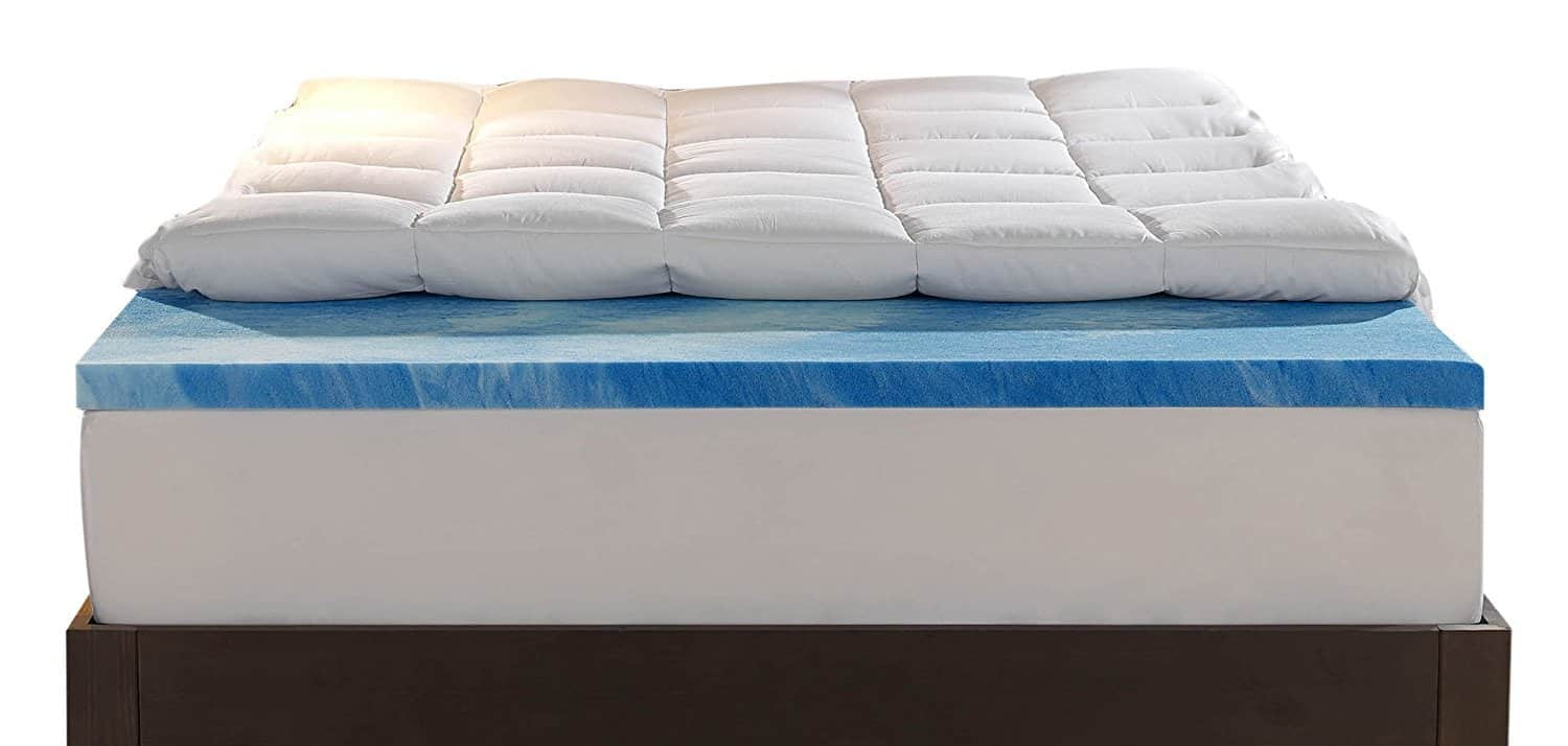 Sleep Innovations topper laid on a regular mattress