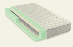 3d image of a foam and coiled spring hybrid mattress