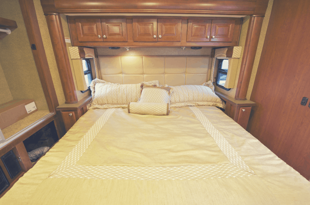 A stunning king size RV mattress made with pillows