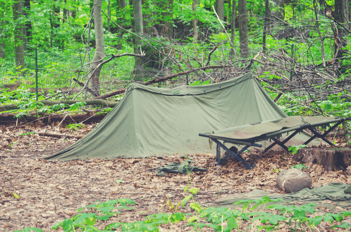 camping cot by a green tent