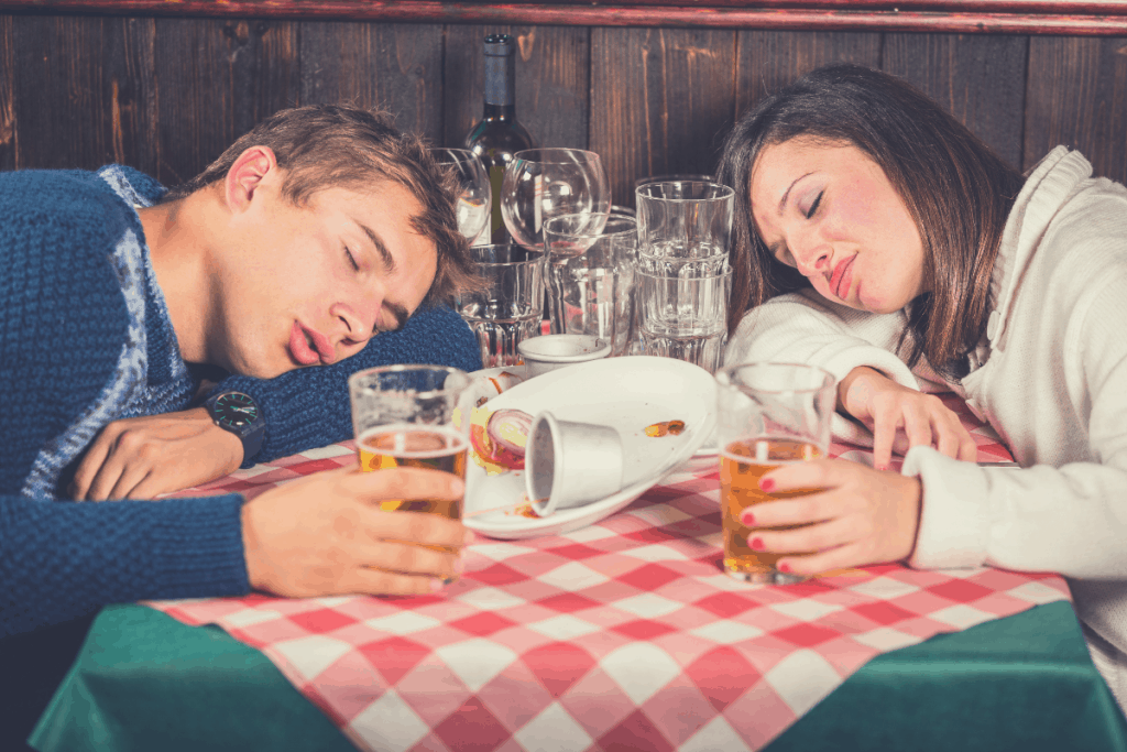 couple sleeping after dinner