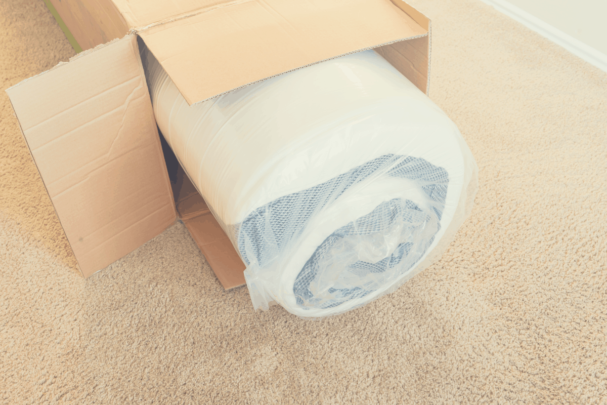 mattress wrapped in a box