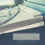 mattress elevator under a mattress on a headboard bed
