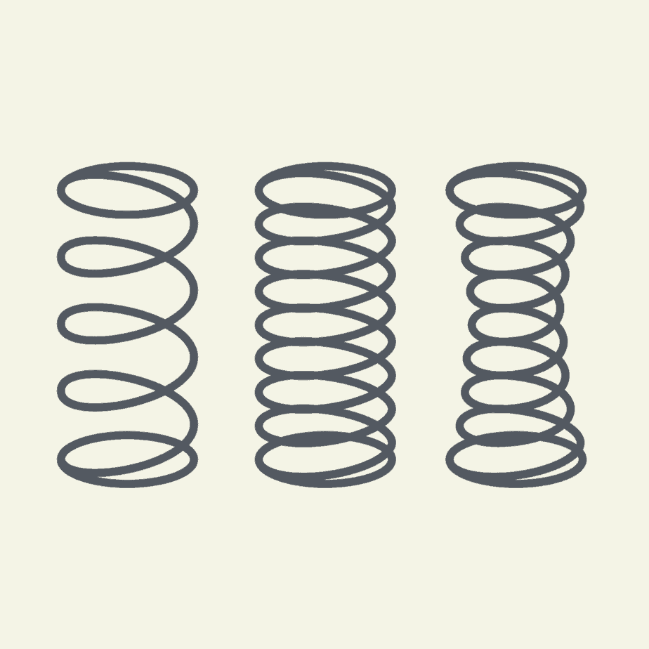 vector image of 3 different types of mattress coils