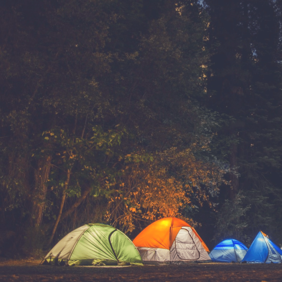 4 camping tents set in the woods