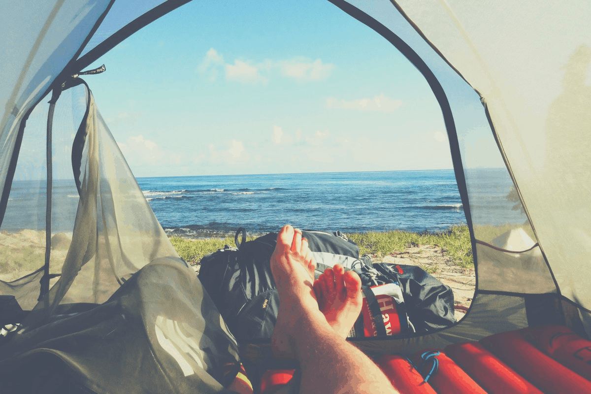 watching watching the ocean in a camping tent