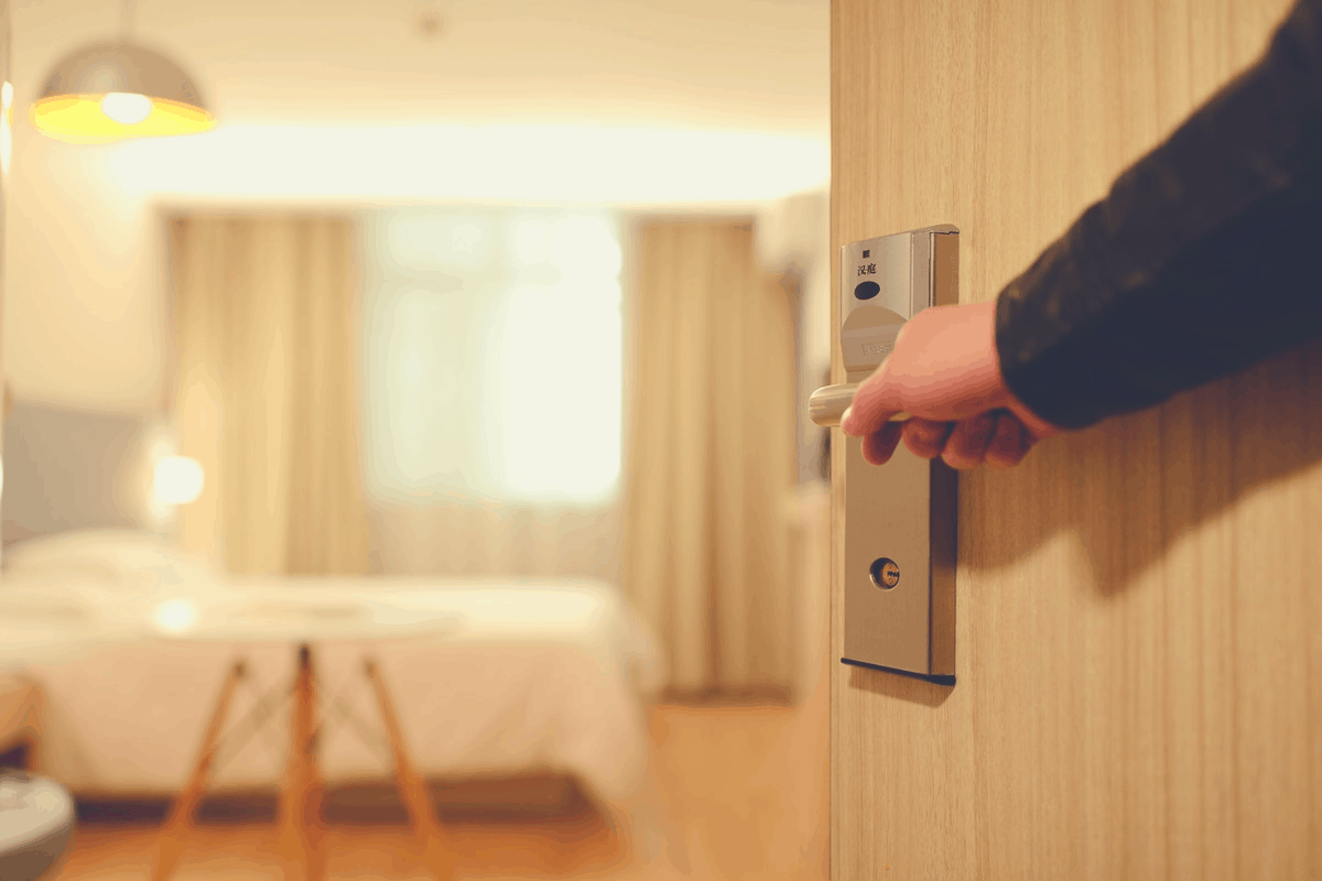 door to a hotel room being open