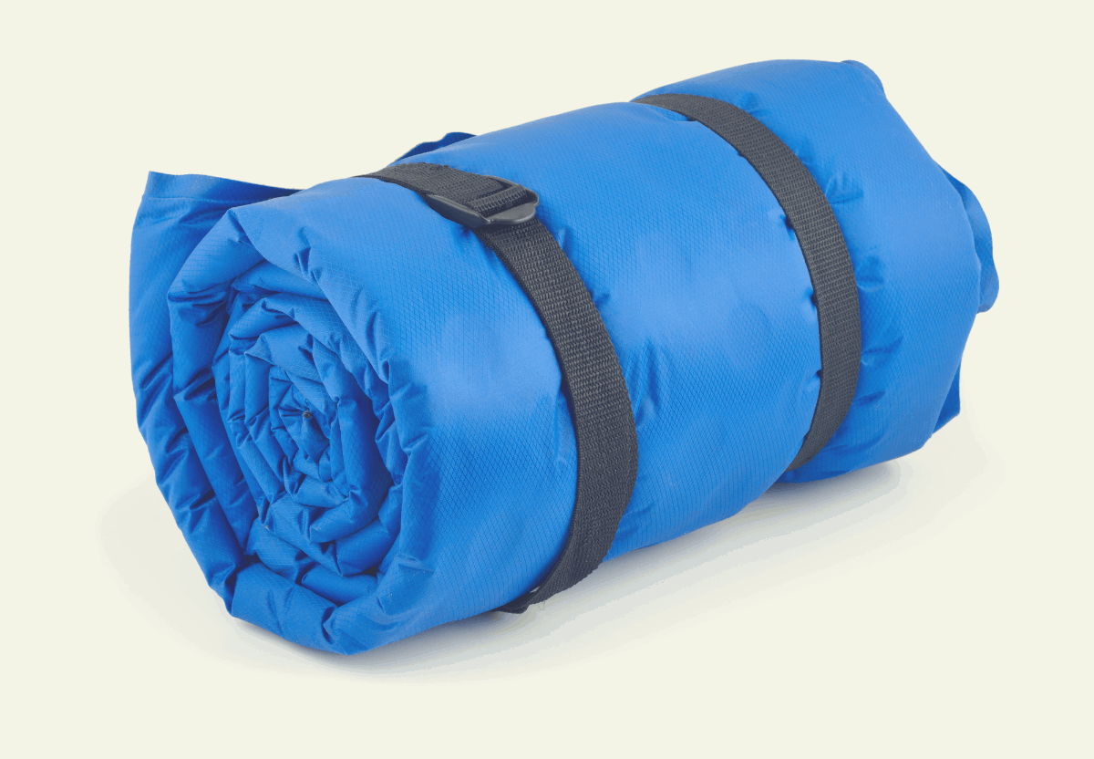 blue sleeping bag rolled up and tied with black straps