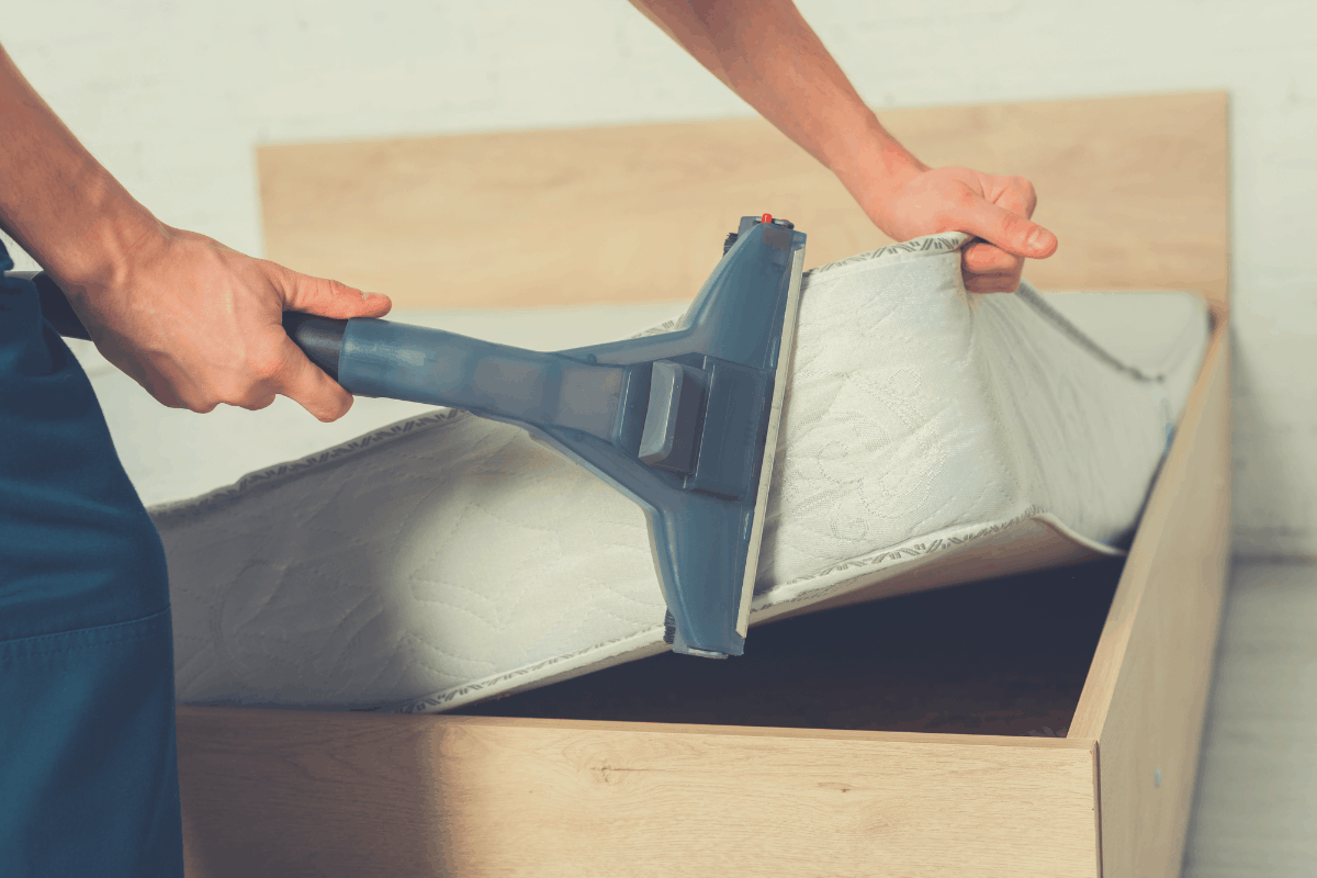 a mattress being vacuum cleaned