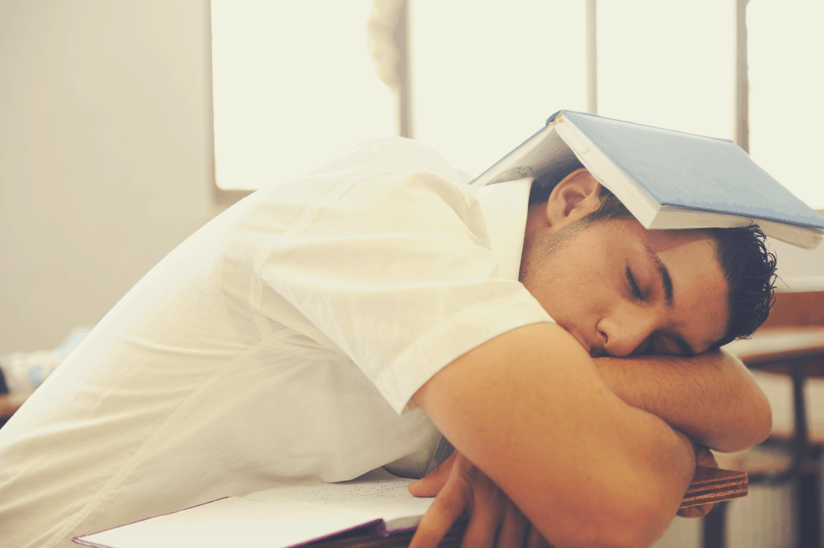 caucasian male student sleeping in class