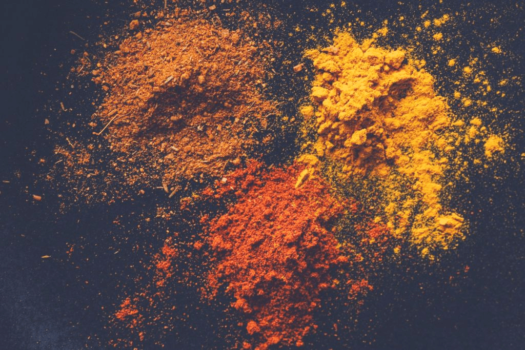 3 different powdered spices